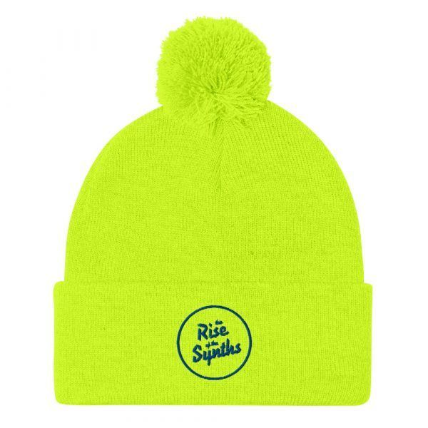 Pom-Pom Beanie The Rise of the Synths Synthwave, 80s, Retrowave and Vaporwave color neon Yellow