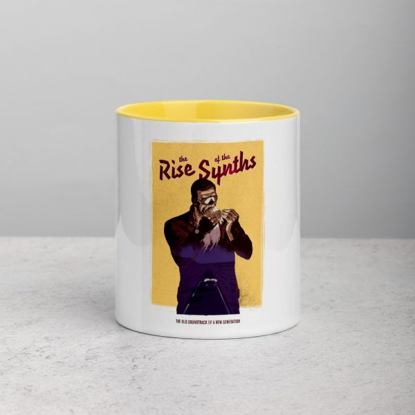 Coffee Mug Synthwave, 80s, Retrowave and Vaporwave coffee mug color yellow